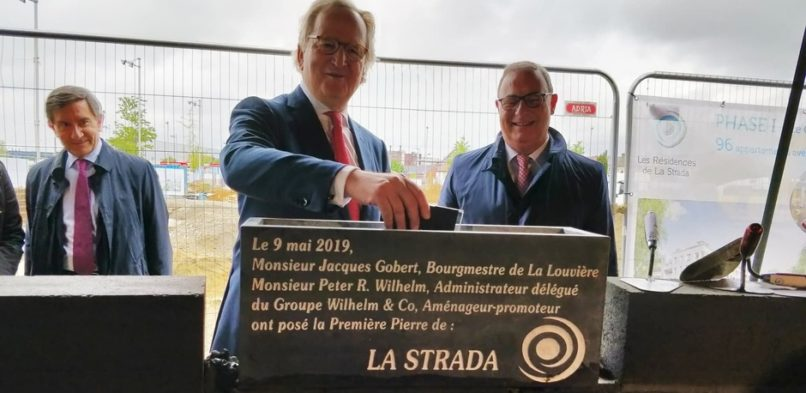 Laying the foundation stone of La Strada, La Louvière, 9 May 2019